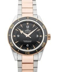 Omega Black 18k Rose Gold And Stainless Steel Seamaster 300m 233.20.41.21.01.001 Wristwatch 41 Mm