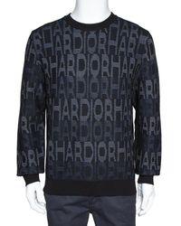 Dior Homme Black Har Patterned Jacquard Wool Blend Pullover