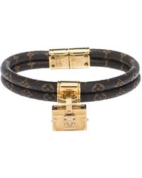 Louis Vuitton Petite Malle Monogram Canvas Gold Tone Bracelet - Brown