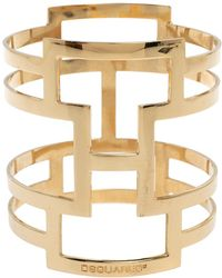 DSquared² Pale Gold Tone Patterned Cut Work Bangle Bracelet - Metallic