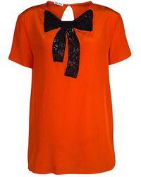 Miu Miu Orange Silk Contrast Lace Bow Detail Short Sleeve Top