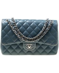 Chanel - Blue Quilted Leather Jumbo Classic Double Flap Bag - Lyst