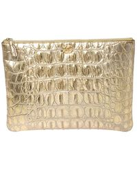 Chanel Gold Crocodile Embossed Leather Cosmetic Pouch - Metallic