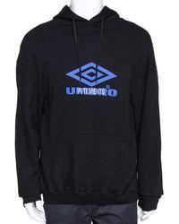 Vetements X Umbro Black Logo Print Cotton Oversized Hoodie S