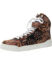 Givenchy Multicolour Paisley Print Satin Tyson High Top Trainers - Brown