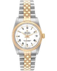 Rolex White 18k Yellow Gold And Stainless Steel Datejust 68273 Women's Wristwatch 31 Mm