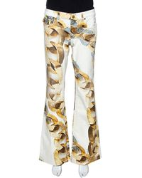 Roberto Cavalli Cream Jewel Printed Denim Flared Jeans - Natural