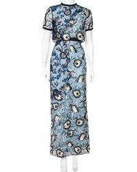 Self-Portrait Blue Floral Embroidered Layered Florentine Maxi Dress