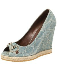 Gucci Light Blue Denim Horsebit Wedge Court Shoes