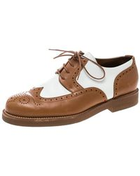 Loro Piana Two Tone Leather Round Toe Wingtip Brogue Oxfords - Brown