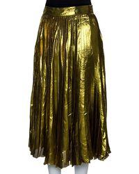 Gucci Gold Lurex Silk Pleated Midi Skirt - Metallic