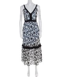f292551f78b Self-Portrait - Monochrome Guipure Lace Overlay Sleeveless Midi Dress S -  Lyst