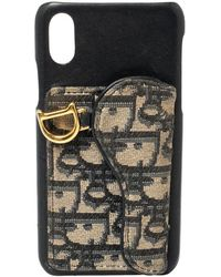 Dior Navy Blue Oblique Jacquard Canvas And Leather Iphone X Case