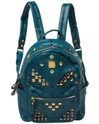 MCM Blue Coated Canvas And Leather Small Studs Stark Backpack
