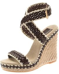 c6d46e00bba Two Tone Woven Leather Lilah Ankle Strap Espadrille Wedge Sandals Size 36.5  - Brown