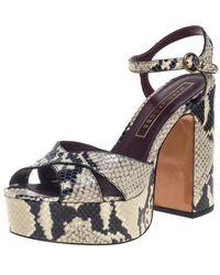 Marc Jacobs Debbie Grey/black Python Embossed Leather Platform Sandal
