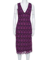 Alice + Olivia Purple Floral Guipure Lace Sleeveless Preslee Dress