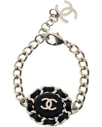 Chanel Cc Black Leather Gold Tone Chain Link Bracelet