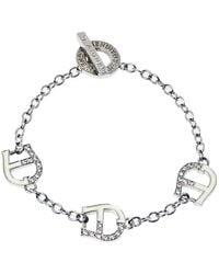 Aigner Silver Tone Crystal And Enamel Logo Toggle Bracelet - Metallic