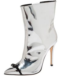 Marco De Vincenzo - Metallic Silver Leather Bow Pointed Toe Ankle Boots - Lyst