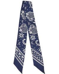Hermès Navy Blue Les Leopards Silk Bandana Twilly