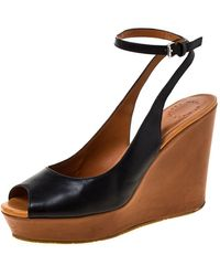 Marc By Marc Jacobs Black Leather Peep Toe Wedge Sandals