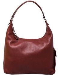 Longchamp Copper Leather Side Pocket Hobo - Brown