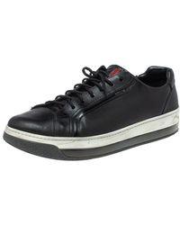 Prada Sports Black Leather Low Top Trainers