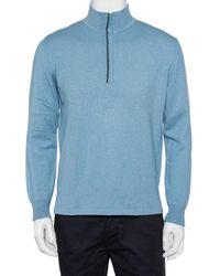 Loro Piana Blue Cashmere & Silk Half Zip High Neck Sweater