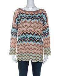 Missoni Beige Crochet Knit Flared Sleeve Top L - Natural