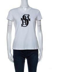 Carolina Herrera Ch White Cotton Embroidered Logo Detail T-shirt