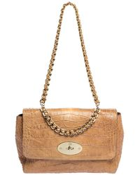 Mulberry Light Brown Croc Embossed Leather Lily Top Handle Bag - Natural