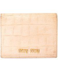 Miu Miu Beige Croc Embossed Leather Bifold Card Holder - Natural