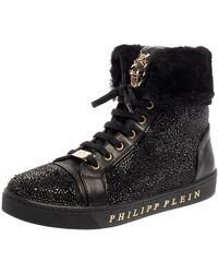 Philipp Plein Black Leather And Suede Crystal Embellished Fur Trim High Top Sneakers
