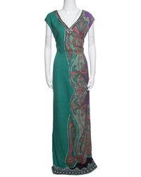 Etro Green Paisley Printed Embellished Maxi Dress M