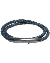 Bottega Veneta Blue Intrecciato Woven Leather Silver Double Wrap Bracelet
