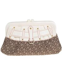 DKNY Beige/brown Signature Canvas And Leather Kisslock Frame Clutch - Natural