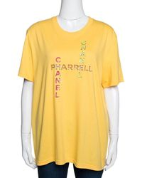 Chanel X Pharrell Yellow Embellished Cotton Short Sleeve T-shirt