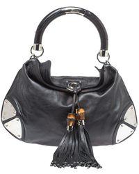 Gucci Leather Medium Babouska Indy Hobo - Black