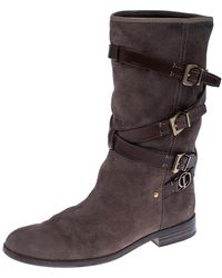 Dior Brown Suede/leather Buckle Detail Mid Calf Boots Size 36