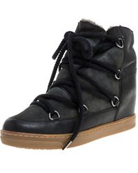Isabel Marant Black Suede And Leather Nowels Wedge High Top Trainers