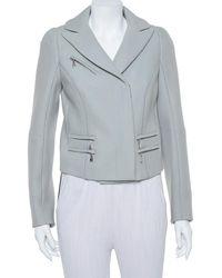 Louis Vuitton Gray Wool Zipper Front Cropped Blazer