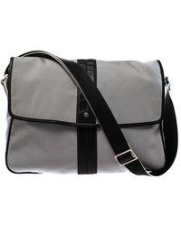 Ferragamo Grey/black Canvas And Leather Flap Messenger Bag