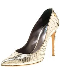Philipp Plein Metallic Gold Python Studded Pointed Toe Pumps