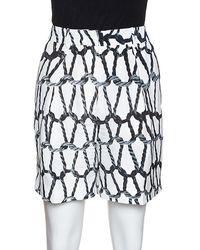 JOSEPH Monochrome Rope Printed Silk Shorts - White