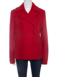 Michael Kors Red Wool Double Breasted Coat