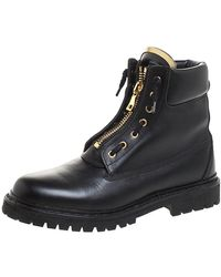 Balmain Black Leather Taiga Ankle Boots