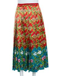 Gucci Multicolour Floral Pleated Silk Skirt
