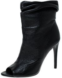 Burberry Black Leather Open Toe Boots Size 37