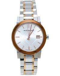Burberry Silver White Two Tone Stainless Steel Bu9105 Wristwatch